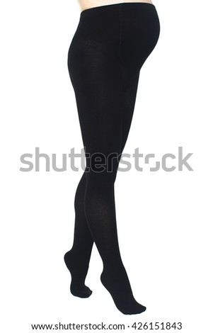 Pregnant woman in black pantyhose - stock photo