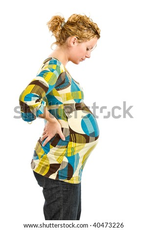 pregnant woman standing - stock photo