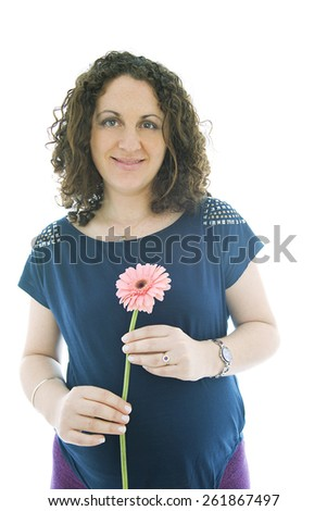 Pregnant woman with flower, isolated on white - stock photo
