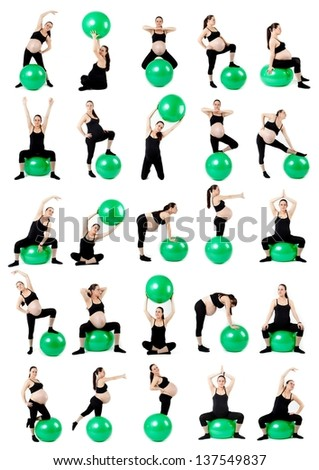 Pregnant woman with gymnastic ball. Pregnant woman fitness collage isolated on white. - stock photo