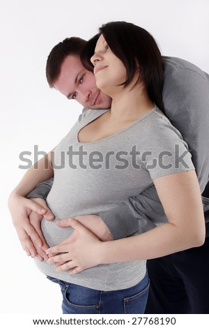 pregnant woman with husband - stock photo