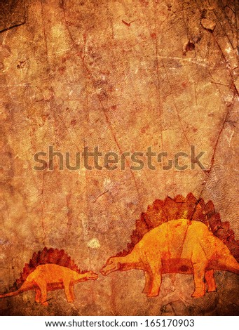 prehistoric background with dinosaur and copyspace - stock photo