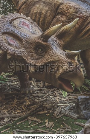 Prehistoric Coahuilaceratop dinosaur, closeup - stock photo