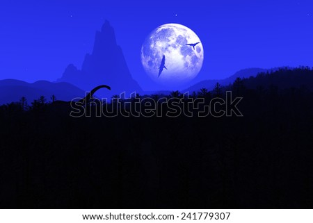 Prehistoric Jurassic Jungle with Dinosaurs at Night under Fullmoon 3D artwork - stock photo