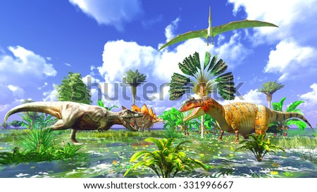 Prehistoric landscape with big dinosaur - stock photo
