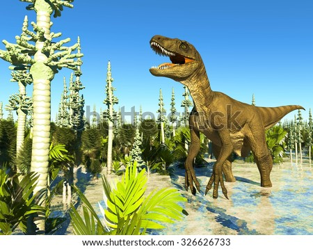 Prehistoric landscape with big T.rex the dinosaur - stock photo