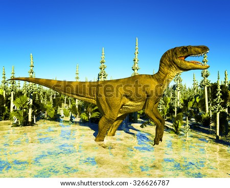 Prehistoric landscape with big T.rex the dinosaur - stock photo