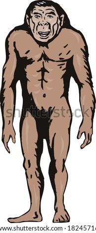 Prehistoric man standing - stock photo