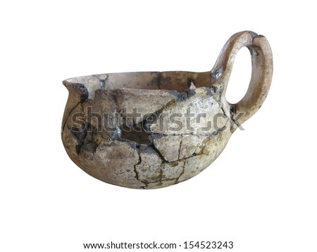 prehistoric pottery isolated over white background - stock photo