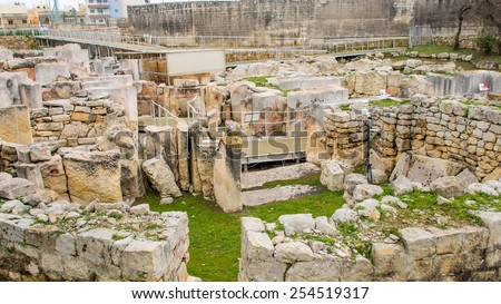 Prehistoric temples built approximately in 3000 B.C. located in Tarxien village, Malta island. - stock photo