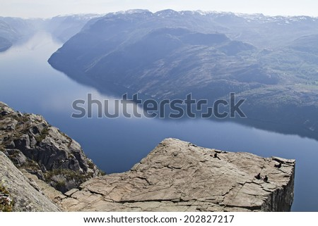 Preikestolen - most popular and busiest hike in Norway and Scandinavia a must for every traveler - stock photo