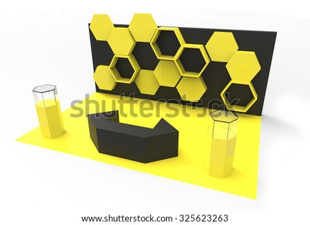 premium booth exhibition design yellow and black color - stock photo