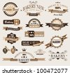 Premium collection of Bakery themed vintage style labels. A lot of different styles and shapes with place for your text. - stock photo