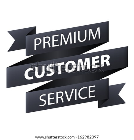 Premium Customer service and support ribbon banner icon isolated on white background. Illustration - stock photo