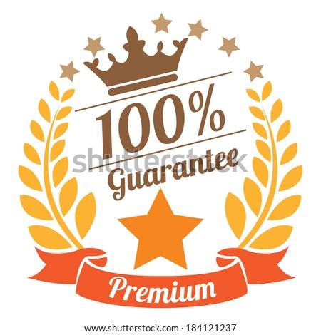 Premium 100 Percent Guarantee Sticker, Icon or Label Isolated on White Background  - stock photo