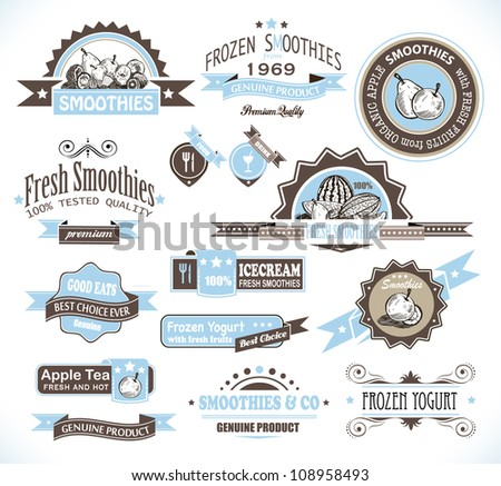 Premium quality collection of Fruits Smoothies, Tea and frozen yogurt labels with different styles and space for text. - stock photo