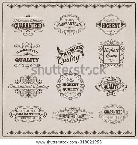 Premium quality guaranteed vintage emblems filigree calligraphic set isolated  illustration - stock photo