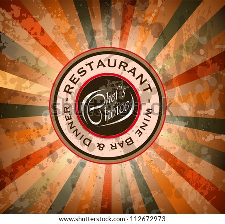 Premium quality Restaurant menu' cover with editable vintage distressed background and space for text. - stock photo