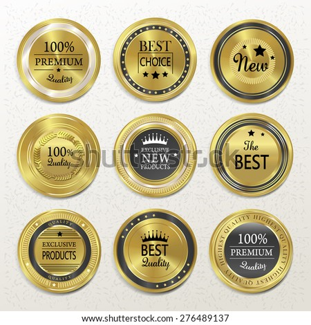 premium quality round gold labels collection over beige - stock photo