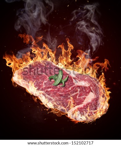 Premium Raw beef sirloin in fire flames - stock photo