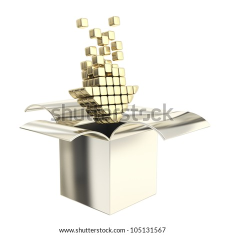 Premium upload icon emblem as golden arrow inside the glossy metal box, isolated on white - stock photo