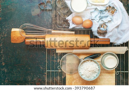 Preparation Baking Kitchen Composition Black Table Top Wooden Metal Dishes Table Ware Fresh Grocery Different Stuff Shabby Effect Top View - stock photo