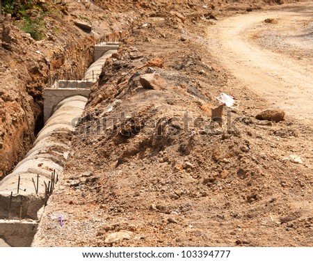 Preparation construction a drainage pipe. During excavation soil. - stock photo