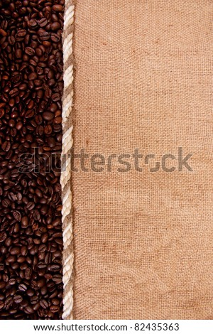 preparation for a coffee menu is made from coffee beans, string and burlap - stock photo