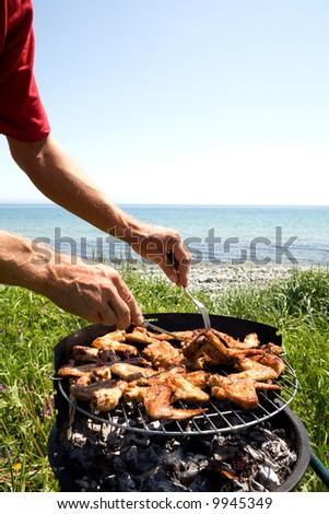 Preparation of a barbecue from a chicken on seacoast. - stock photo