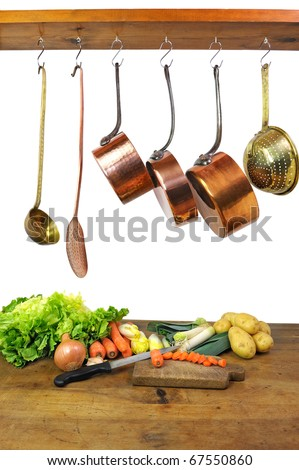 preparation of a vegetables soup - stock photo