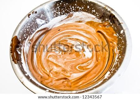 preparation of extra creamy chocolate - stock photo