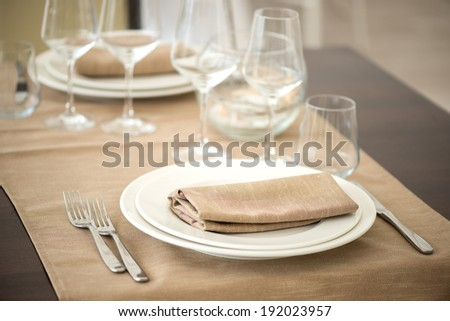 preparation restaurant tables - stock photo