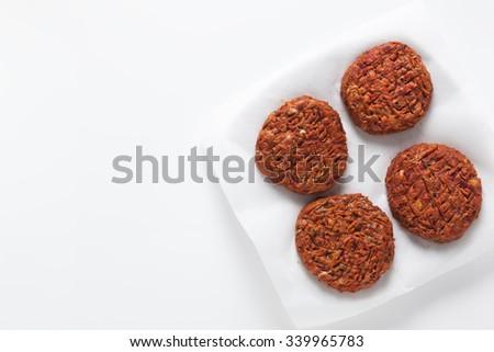 preparation veggie burger on white - stock photo