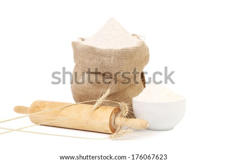 Preparations for homemade baking. Isolated on a white background. - stock photo
