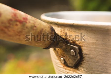 Prepare pot for cooking.Focus center of picture. - stock photo