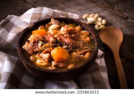 Prepared beans and beef meat in the bowl,selective focus  - stock photo