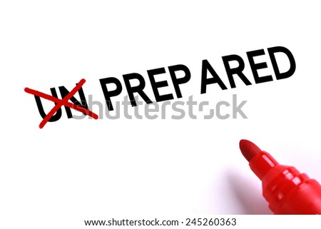 Prepared concept with red marker on white background. - stock photo