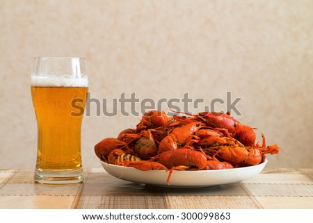 Prepared crayfish boiled with dill and glass of beer - stock photo