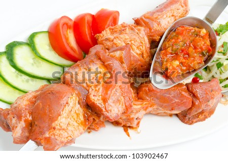 prepared food for barbecue - seasoned meat with vegetables on skewers - stock photo