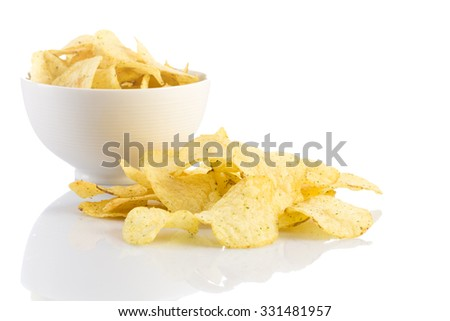 Prepared potato chips snack closeup view on white background - stock photo