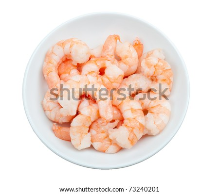 prepared shrimp in a bowl  isolated on a white background - stock photo