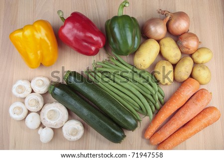 Prepared vegetables ready for cooking - stock photo