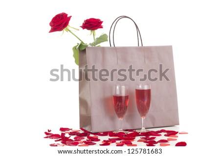 Preparing a romantic dinner - stock photo