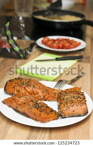 Preparing a seafood lunch - stock photo