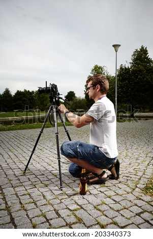 Preparing camera - stock photo