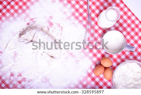 Preparing donuts in kichen table - stock photo