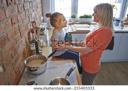 Preparing for Easter breakfast with family - stock photo