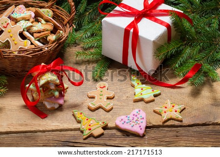 Preparing gingerbread cookies as a gift - stock photo