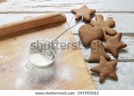 Preparing gingerbread cookies for christmas. Steps of making biscuits - stock photo