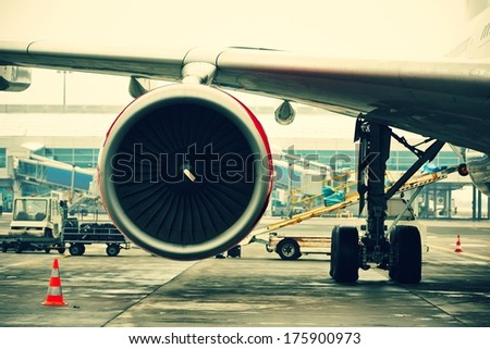 Preparing the aircraft before take off. - stock photo